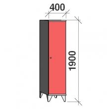 Pukukaappi 1:lla ovella 1900x400x545 pitkäovinen