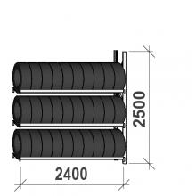 Rengashylly jatko-osa 2500x2400x500, 3 tasoa, 300kg/taso