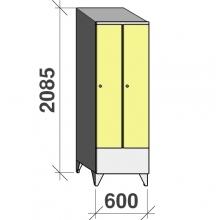 Vaatekaappi 2:lla ovella 2085x600x545 lyhytovinen, viistokatolla