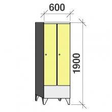 Pukukaappi 2:lla ovella 1900x600x545 lyhytovinen