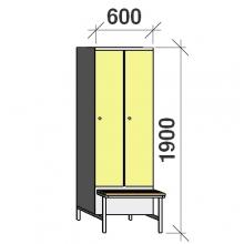 Vaatekaappi 2:lla ovella 1900x600x830 jalustapenkillä