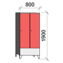 Locker 2x400, 1900x800x545 short door
