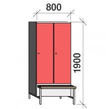Vaatekaappi 2:lla ovella 1900x800x830 jalustapenkillä