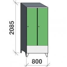 Vaatekaappi 2:lla ovella 2085x800x545 lyhytovinen,väliseinällä, viistokatolla