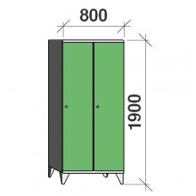 Pukukaappi 2:lla ovella 1900x800x545 pitkäovinen väliseinällä