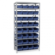 Laatikkohylly 2100x1000x300, 32 laatikkoa 300x240x150