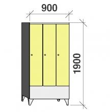 Pukukaappi 3:lla ovella 1900x900x545 lyhytovinen