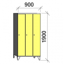 Pukukaappi 3:lla ovella 1900x900x545 pitkäovinen