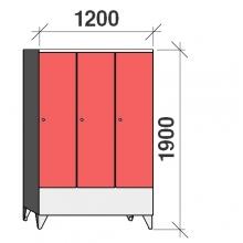 Pukukaappi 3:lla ovella 1900x1200x545 lyhytovinen