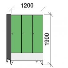 Pukukaappi 3:lla ovella 1900x1200x545 lyhytovinen väliseinällä