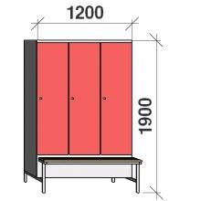 Vaatekaappi 3:lla ovella 1900x1200x830 jalustapenkillä