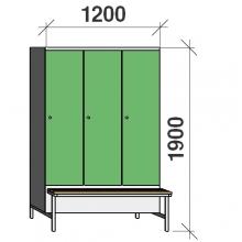 Vaatekaappi 3:lla ovella 1900x1200x830 jalustapenkillä väliseinällä