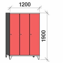 Pukukaappi 3:lla ovella 1900x1200x545 pitkäovinen