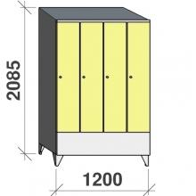 Vaatekaappi 4:lla ovella 2085x1200x545 lyhytovinen, viistokatolla