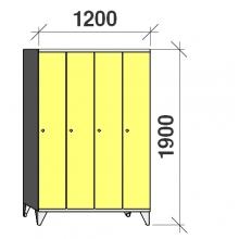 Locker 4x300, 1900x1200x545, long door