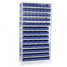 Laatikkohylly 2100x1000x300, 76 laatikkoa