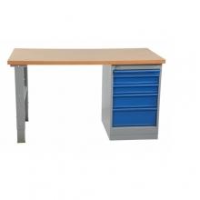 Työpöytä 1600x800 5-osaisella laatikostolla, öljykarkaistu levy