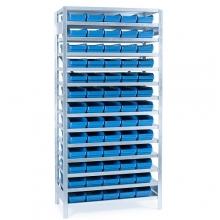 Laatikkohylly 2100x1000x400, 65 laatikkoa 400x180x95