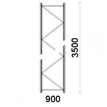 Kevytorsihyllyn pylväselementti 3500x900 mm MAXI