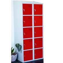 Storage locker, red/grey 10 compartments 1920x700x550
