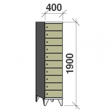 Lokerokaappi 10:lla ovella 1900x400x545