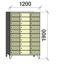 10-Tier locker, 30 doors, 1900x1200x545 mm