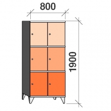 Lokerokaappi 6:lla ovella 1900x800x545