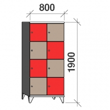 4-Tier locker, 8 doors, 1900x800x545 mm