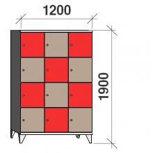 Lokerokaappi 12:lla ovella 1900x1200x545