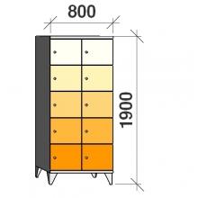 Lokerokaappi 10:lla ovella 1900x800x545