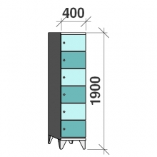 6-Tier locker, 6 doors, 1900x400x545 mm