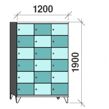 6-Tier locker, 18 doors, 1900x1200x545 mm
