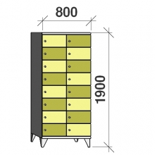 8-Tier locker,16 doors, 1900x800x545 mm