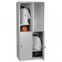 2-tier locker, 4 doors, 1820x800x500 RAL7035 Knocked Down