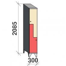 Z-locker 2085x300x545, 2 doors with sloping top