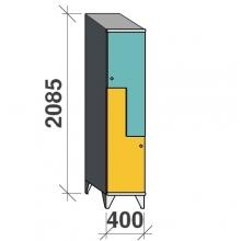 Z-locker 2085x400x545, 2 doors with sloping top