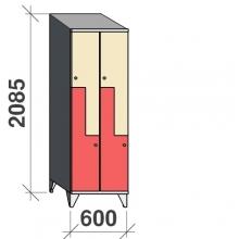 Z-locker 2085x600x545, 4 doors with sloping top