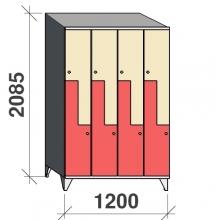 Z-locker 2085x1200x545, 8 doors with sloping top