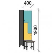 Z- Pukukaappi 2-ovella 1900x400x845 penkillä