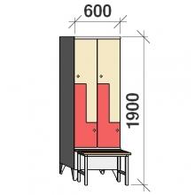 Z- Pukukaappi 4-ovella 1900x600x845 penkillä