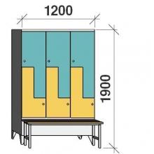 Z- Pukukaappi 6-ovella 1900x1200x845 penkillä
