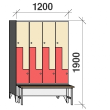 Z- Pukukaappi 8-ovella 1900x1200x845 penkillä